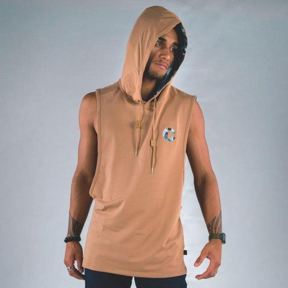 Cuzy T Men's Tan Sleeveless VII Vintage Hoodie